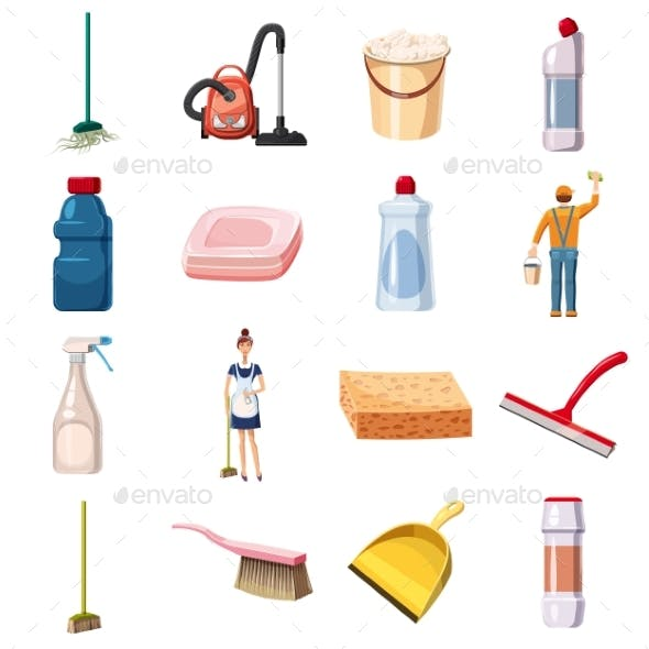 Cleaning Icons Set Detergents, Cartoon Style