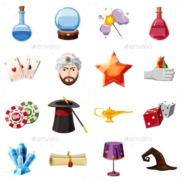 Magician Icons Set Items, Cartoon Style