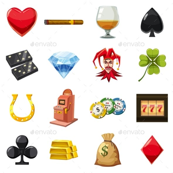Casino Icons Set Symbols, Cartoon Style