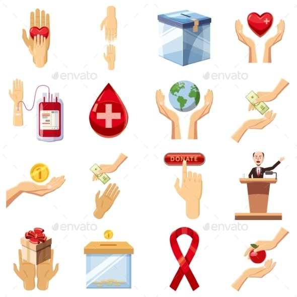 Charity Icons Set, Cartoon Style - Business Conceptual