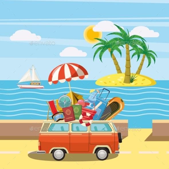 Travel Tourism Concept Island, Cartoon Style - Seasons/Holidays Conceptual
