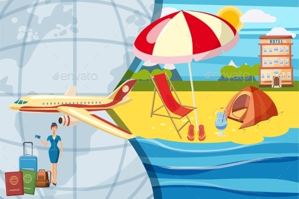 Travel Tourism Concept, Cartoon Style - Seasons/Holidays Conceptual