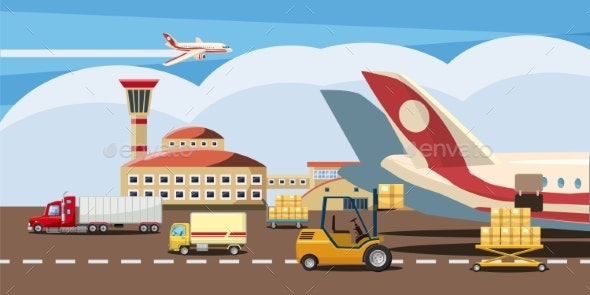 Logistic Horizontal Banner, Cartoon Style - Miscellaneous Vectors