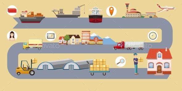 Logistic Horizontal Banner Route, Cartoon Style - Miscellaneous Vectors