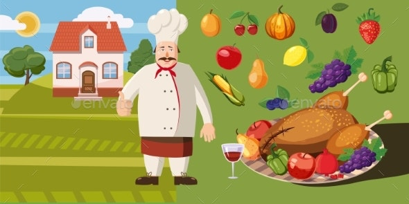 Food Horizontal Banner Cook, Cartoon Style - Food Objects