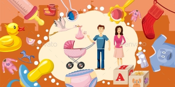 Family Horizontal Banner Goods, Cartoon Style - People Characters