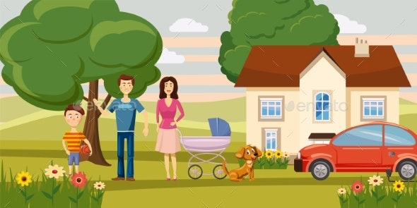 Family Horizontal Banner Garden, Cartoon Style - People Characters