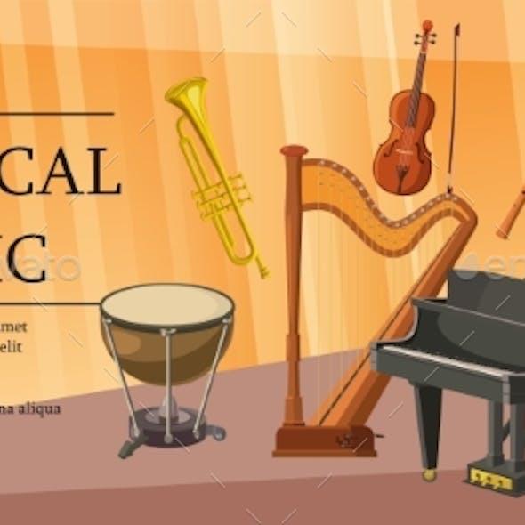 Classical Music Banner Horizontal, Cartoon Style