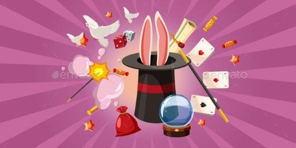 Magician Rabbit Banner Horizontal - Miscellaneous Vectors