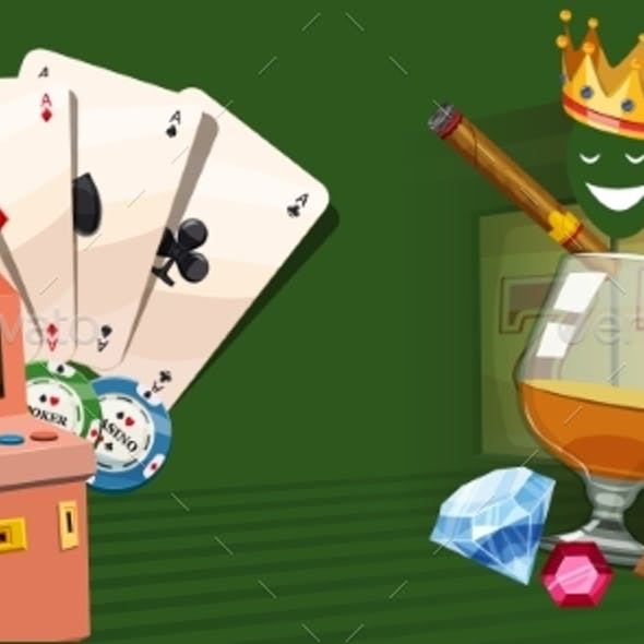 Casino Gambling Horizontal Banner, Cartoon Style