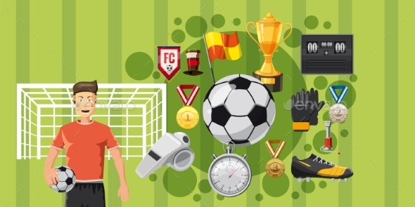 Soccer Play Banner Horizontal, Cartoon Style - Sports/Activity Conceptual