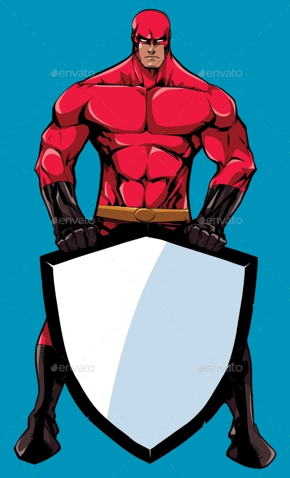 Superhero Holding Shield No Cape - People Characters