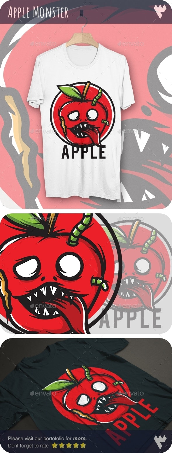 Red Apple Monster - T-Shirt Design - Funny Designs