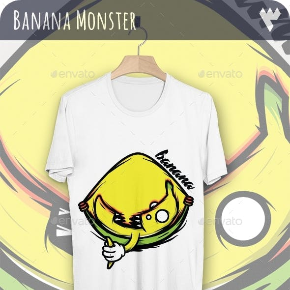 Cool Banana Monster - T-Shirt Design
