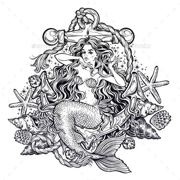 Hand Drawn Artwork of Mermaid Girl - Miscellaneous Characters