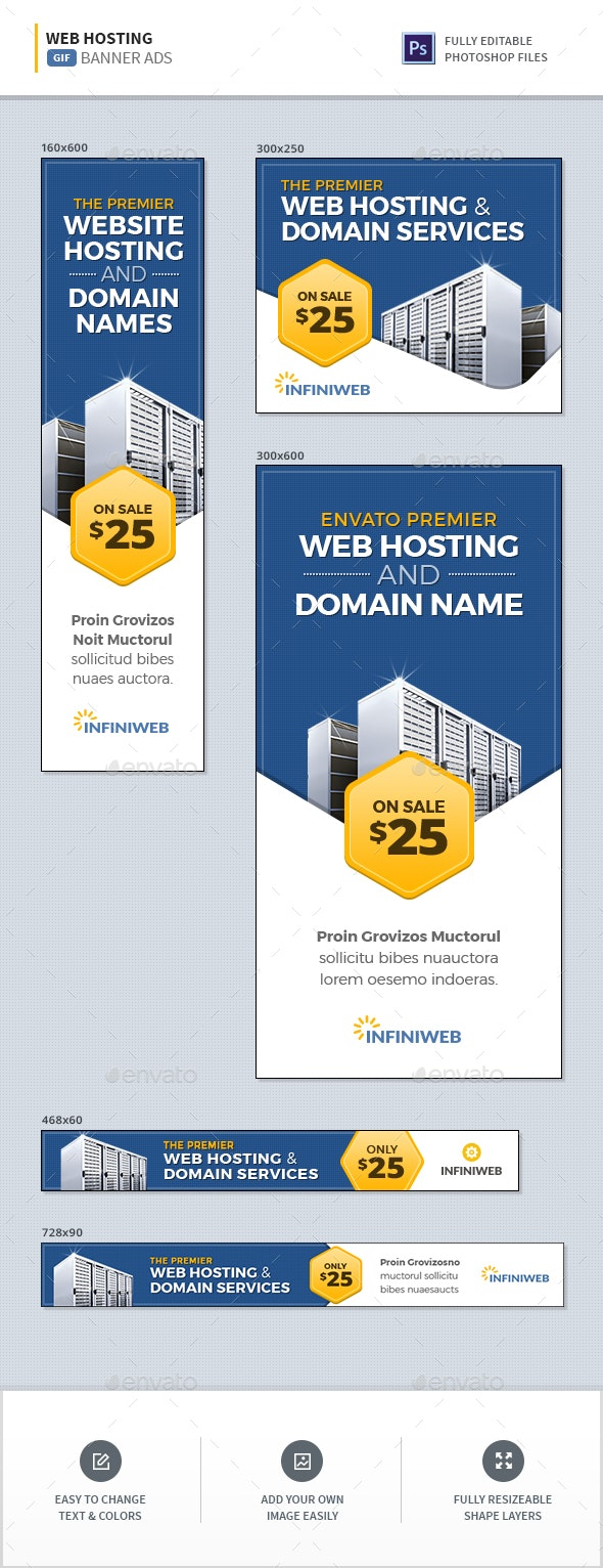 Animated Hosting Banners - Banners & Ads Web Elements