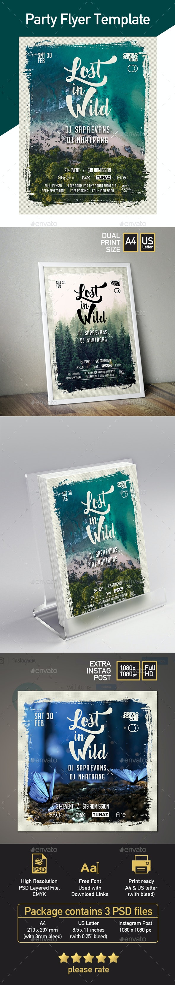 Party Flyer Template - Lost in Wild - 3 Templates in 1 Package - Clubs & Parties Events