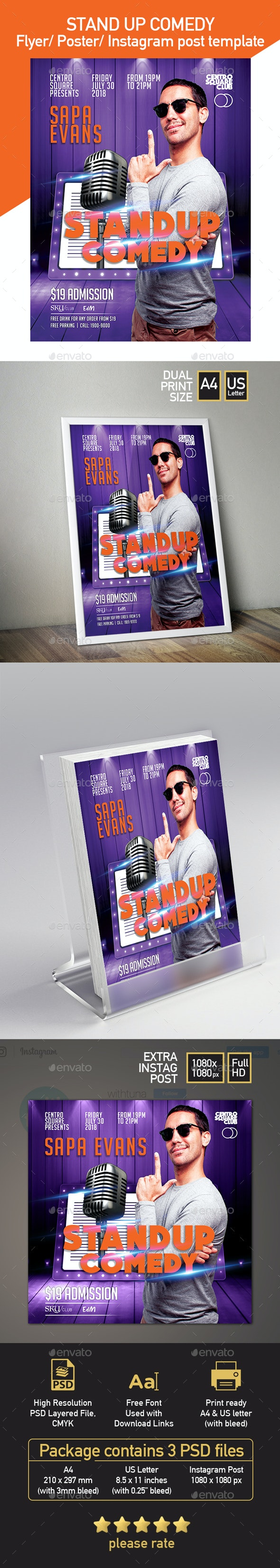 Stand up Comedy Flyer Template - with 3 Different Size Templates - Events Flyers