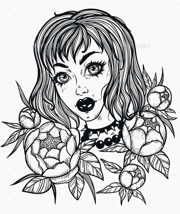 Girl with Flowers - Tattoos Vectors