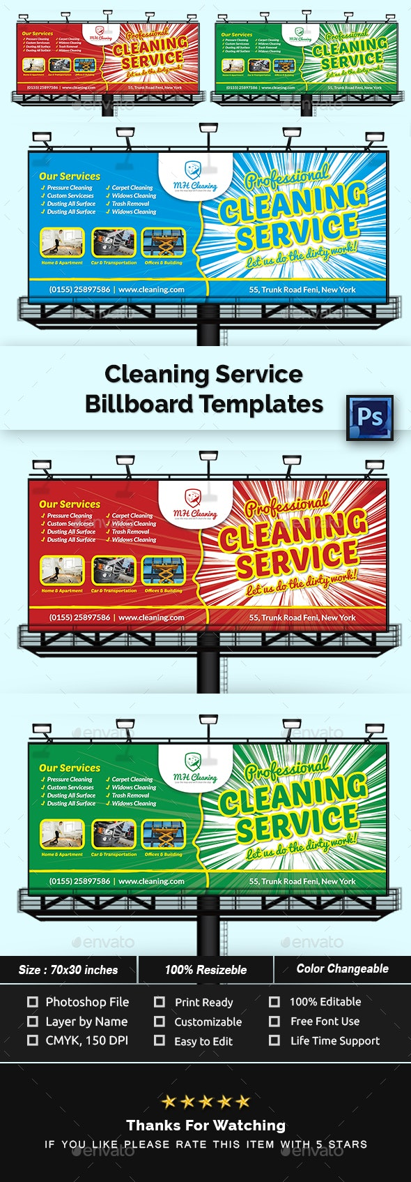 Cleaning Services Billboard Templates - Signage Print Templates