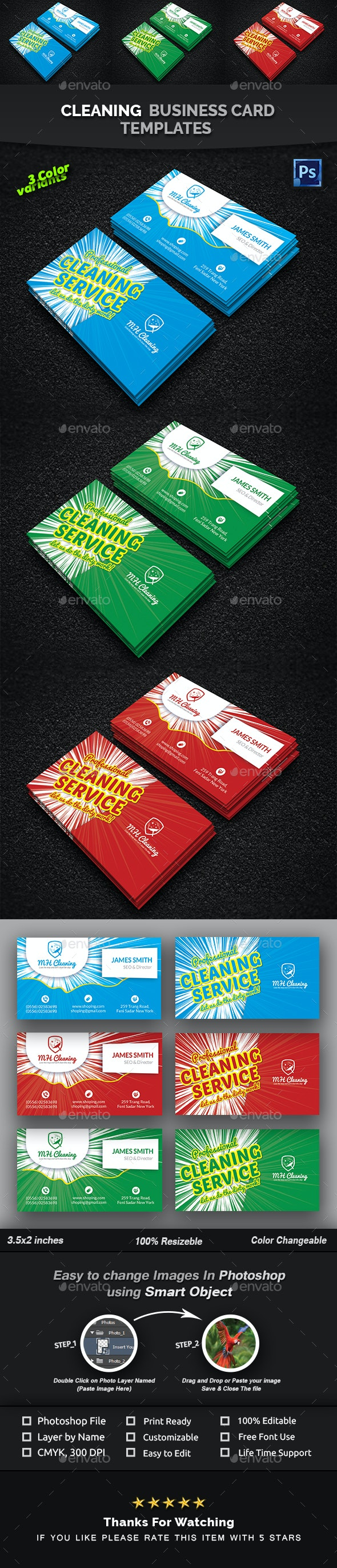 Cleaning Services Business Card Templates - Creative Business Cards