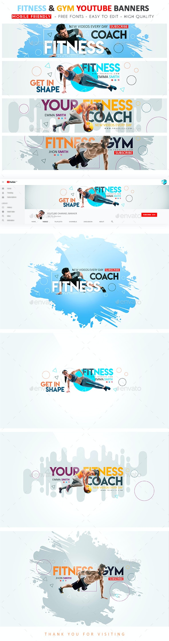 Fitness & Gym YouTube Banner - YouTube Social Media