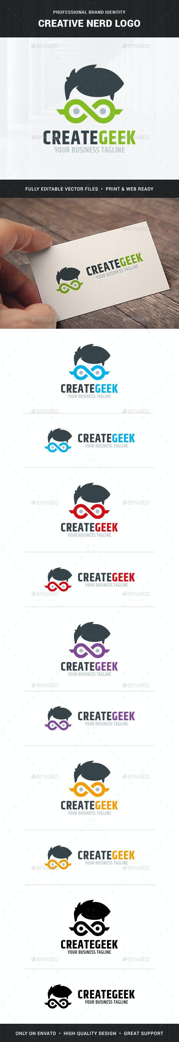 Creative Nerd Logo Template - Humans Logo Templates