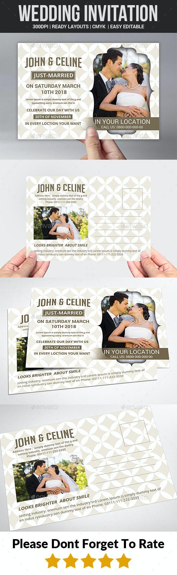 Wedding Invitation Postcard - Wedding Greeting Cards