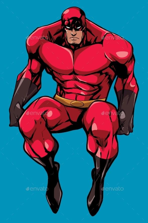 Superhero Sitting No Cape - People Characters