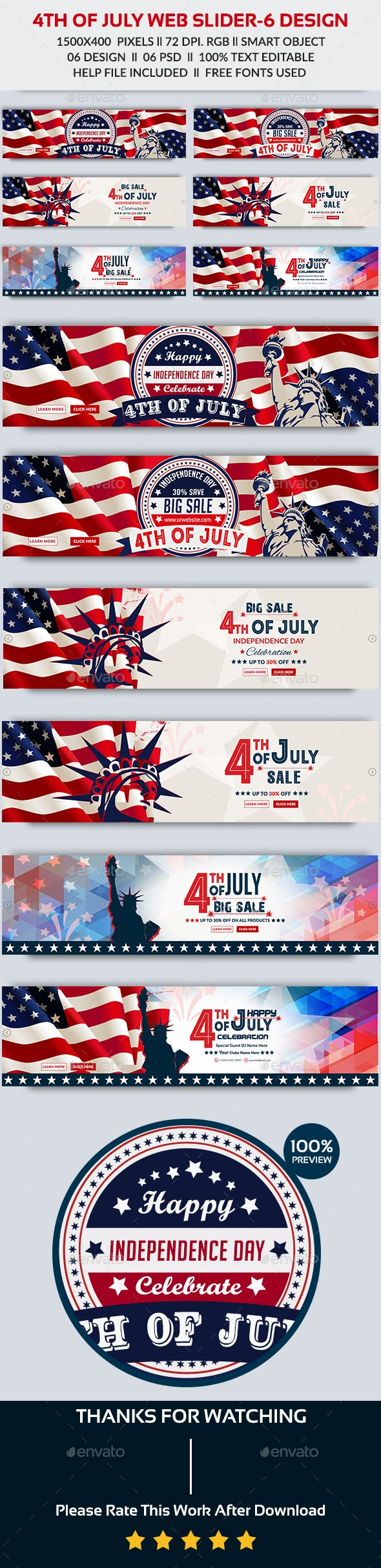 4th of July Web Slider-Bundle - Sliders & Features Web Elements