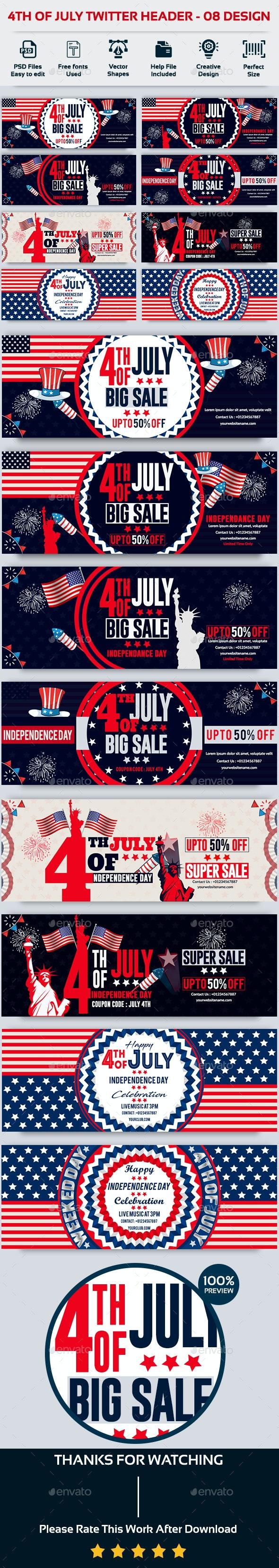 4th of July Twitter Header-Bundle -8 Design - Twitter Social Media