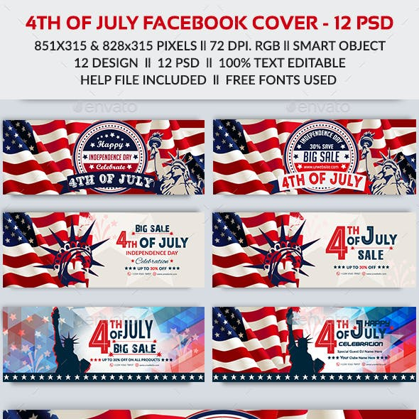 4th of July Facebook Cover-Bundle -12 Design