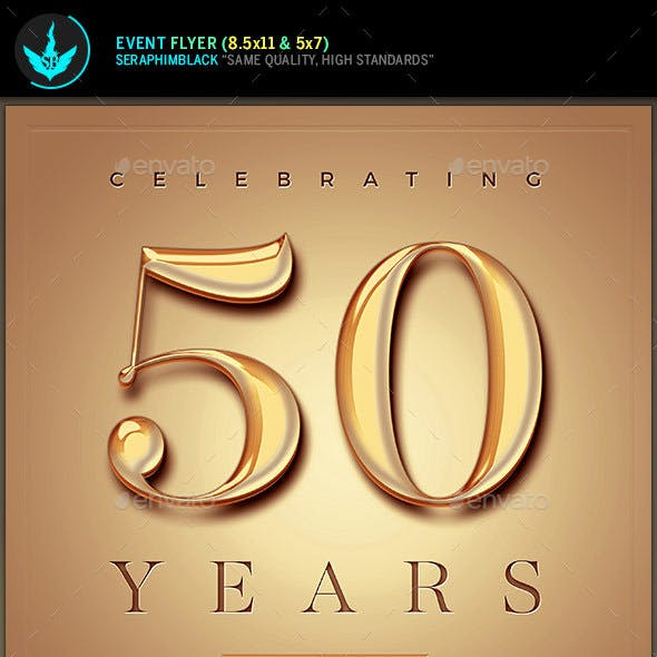 Gold Church Anniversary Flyer Template