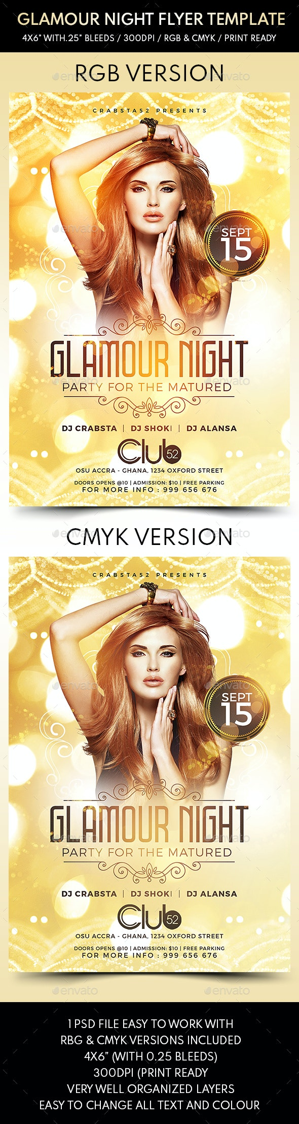 Glamour Night Flyer Template - Flyers Print Templates