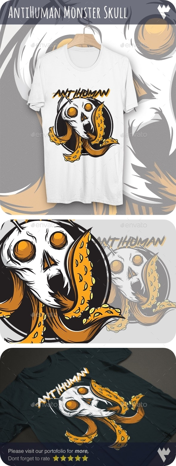 Anti Human Skull Octopus - T-Shirt Design - Grunge Designs