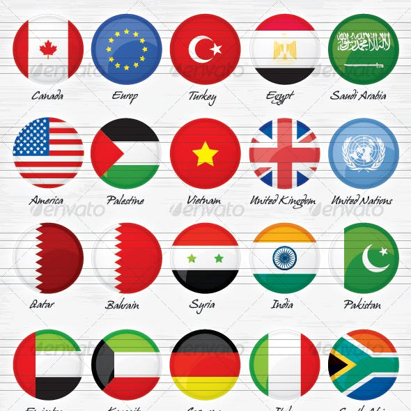 40 World Countries Flags Buttons