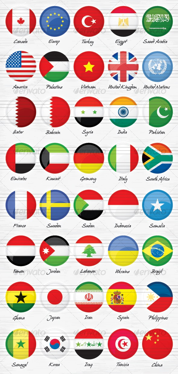 40 World Countries Flags Buttons - Miscellaneous Icons
