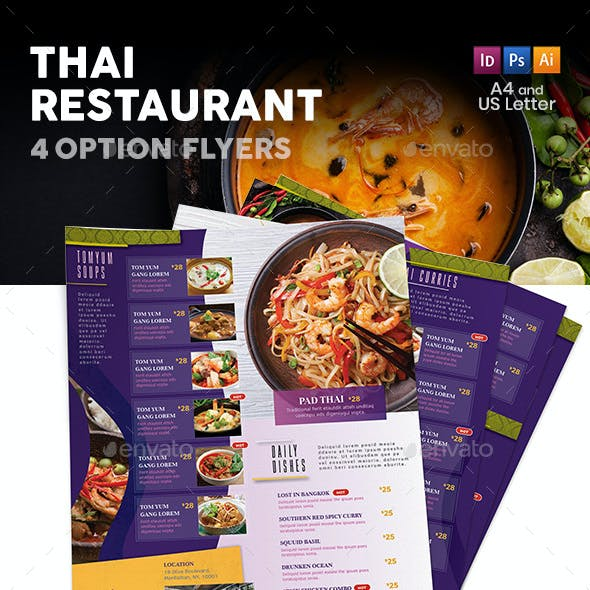 Thai Restaurant Menu Flyers 5 – 4 Options