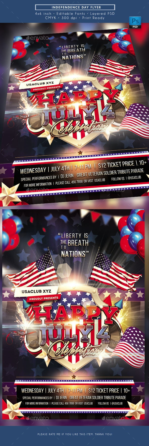 Independence Day July Fourth Flyer - Holidays Events