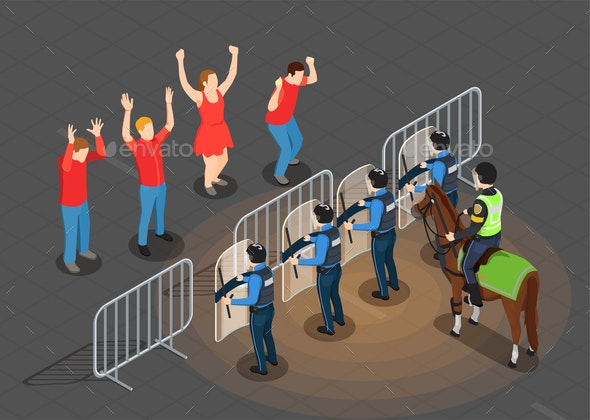 Police and People Isometric Background - Miscellaneous Vectors