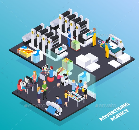 Advertising Agency Isometric Composition - Industries Business