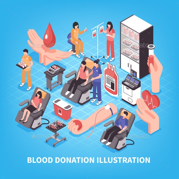 Blood Donation Isometric Illustration - People Characters