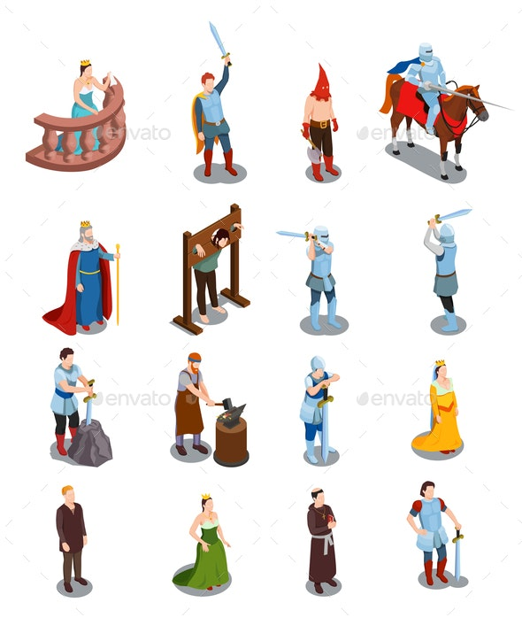Medieval Isometric Icons - People Characters