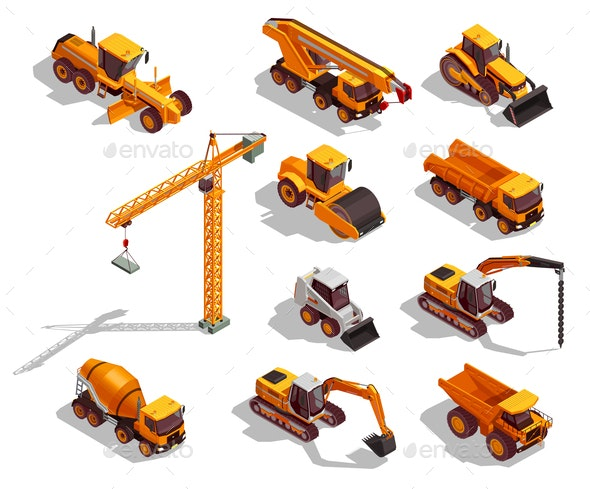 Construction Machinery Isometric Icons - Industries Business