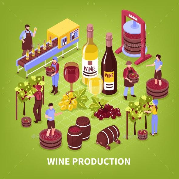Wine Production Isometric Illustration - Food Objects
