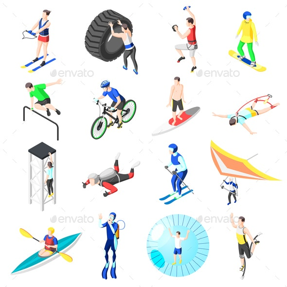 Extreme Sports Isometric Icons - Sports/Activity Conceptual