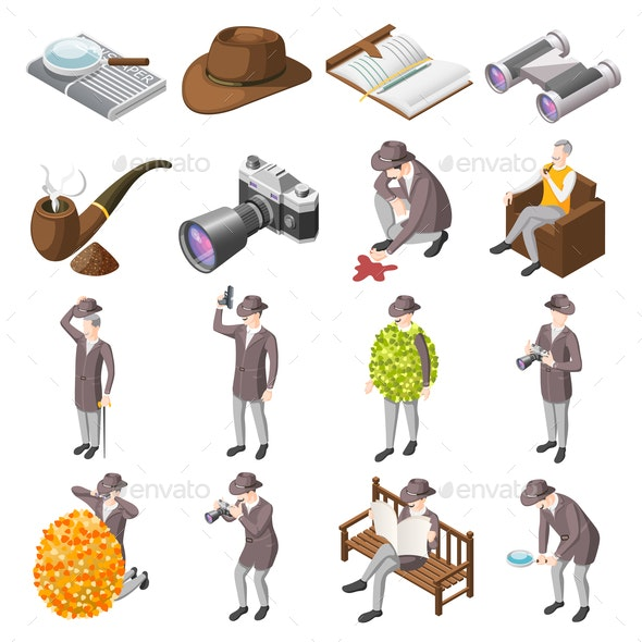Classic Detective Isometric Icons - Miscellaneous Vectors