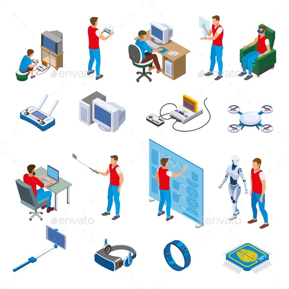 Digital Gadget Evolution Isometric Icons - Computers Technology
