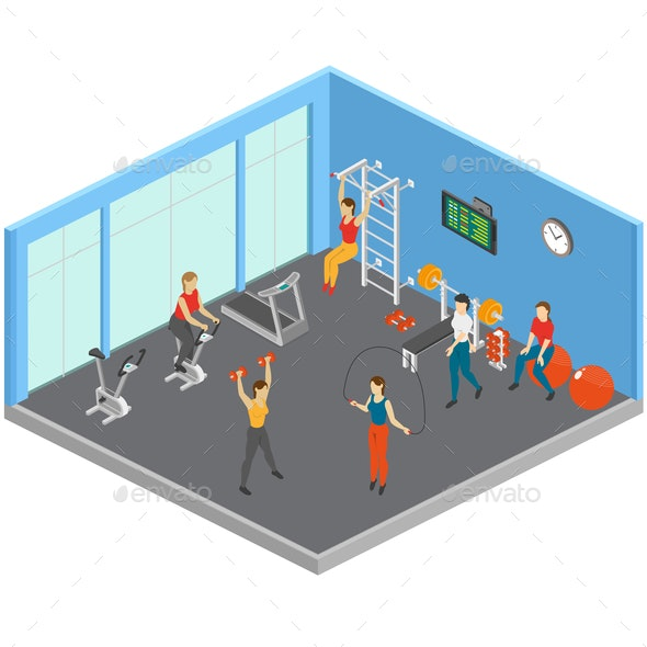 Keep Fit Studio Composition - People Characters