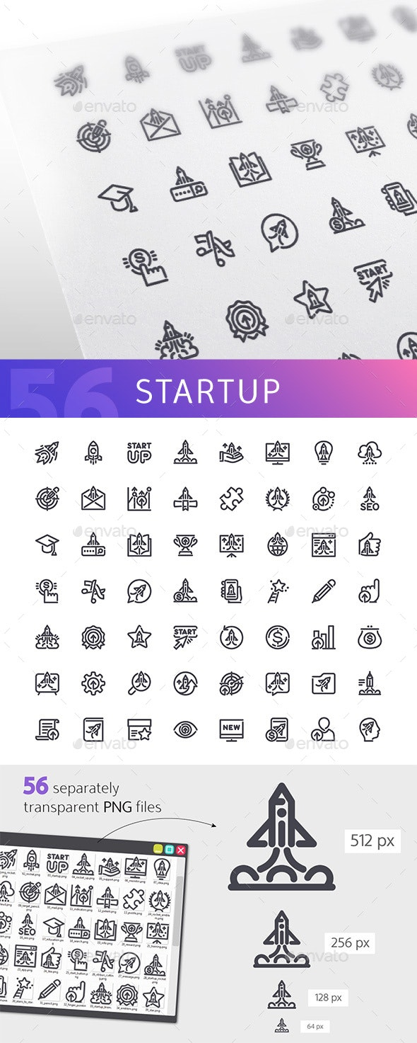 Startup Line Icons Set - Business Icons